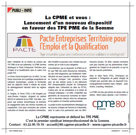 Lancement d'un nouveau dispositif en faveur des TPE PME de la Somme